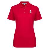 Ladies Easycare Red Pique Polo-Icon