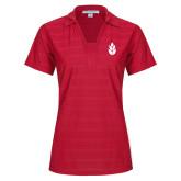 Ladies Red Horizontal Textured Polo-Icon