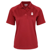 Ladies Red Textured Saddle Shoulder Polo-Icon