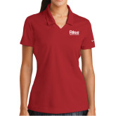 Ladies Nike Golf Dri Fit Red Micro Pique Polo-Primary Mark