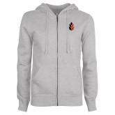 ENZA Ladies Grey Fleece Full Zip Hoodie-Icon