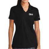 Ladies Nike Golf Dri Fit Black Micro Pique Polo-Primary Mark