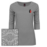 Ladies Grey Heather Lace 3/4 Sleeve Tee-Icon