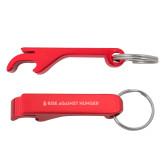 Aluminum Red Bottle Opener-Primary Mark Flat  Engraved