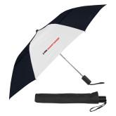 42 Inch Slim Stick Black/White Vented Umbrella-Primary Mark Flat