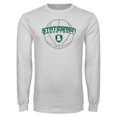 White Long Sleeve T Shirt-Basketball Ball Design