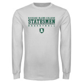 White Long Sleeve T Shirt-Basketball Stacked Design
