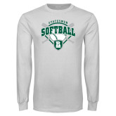White Long Sleeve T Shirt-Softball Crossed Bats w/ Plate Design