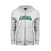 ENZA Ladies White Fleece Full Zip Hoodie-Arched Richard Bland Statesmen