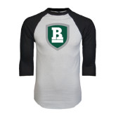 White/Black Raglan Baseball T-Shirt-Shield