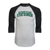 White/Black Raglan Baseball T-Shirt-Arched Richard Bland Statesmen