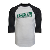 White/Black Raglan Baseball T-Shirt-Statesmen - Richard Bland College