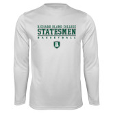 Performance White Longsleeve Shirt-Basketball Stacked Design