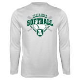 Performance White Longsleeve Shirt-Softball Crossed Bats w/ Plate Design