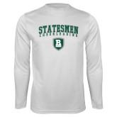 Performance White Longsleeve Shirt-Cheerleading Arched Design