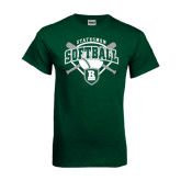 Dark Green T Shirt-Softball Crossed Bats w/ Plate Design
