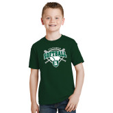 Youth Dark Green T Shirt-Softball Crossed Bats w/ Plate Design