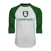 White/Dark Green Raglan Baseball T-Shirt-Richard Bland Statemen Stacked