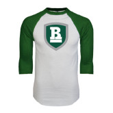 White/Dark Green Raglan Baseball T-Shirt-Shield