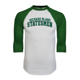 White/Dark Green Raglan Baseball T-Shirt-Arched Richard Bland Statesmen