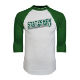 White/Dark Green Raglan Baseball T-Shirt-Statesmen - Richard Bland College