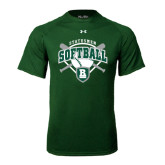 Under Armour Dark Green Tech Tee-Softball Crossed Bats w/ Plate Design