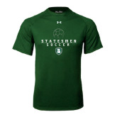 Under Armour Dark Green Tech Tee-Soccer Stacked Design