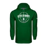 Under Armour Dark Green Performance Sweats Team Hoodie-Basketball Ball Design