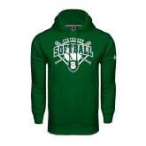 Under Armour Dark Green Performance Sweats Team Hoodie-Softball Crossed Bats w/ Plate Design