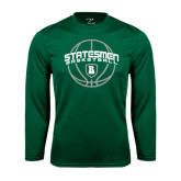 Performance Dark Green Longsleeve Shirt-Basketball Ball Design