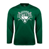 Performance Dark Green Longsleeve Shirt-Softball Crossed Bats w/ Plate Design