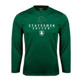 Performance Dark Green Longsleeve Shirt-Soccer Stacked Design