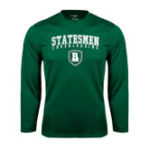 Performance Dark Green Longsleeve Shirt-Cheerleading Arched Design