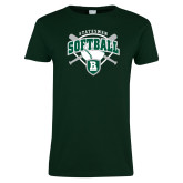 Ladies Dark Green T Shirt-Softball Crossed Bats w/ Plate Design