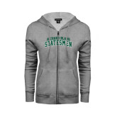 ENZA Ladies Grey Fleece Full Zip Hoodie-Arched Richard Bland Statesmen