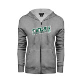 ENZA Ladies Grey Fleece Full Zip Hoodie-Statesmen - Richard Bland College