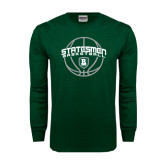 Dark Green Long Sleeve T Shirt-Basketball Ball Design