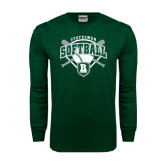 Dark Green Long Sleeve T Shirt-Softball Crossed Bats w/ Plate Design