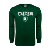 Dark Green Long Sleeve T Shirt-Cheerleading Arched Design