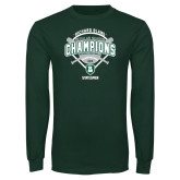 Dark Green Long Sleeve T Shirt-2015 Softball Champions