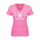 Next Level Ladies Junior Fit Ideal V Pink Tee-Richard Bland Statemen Stacked