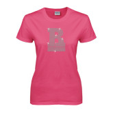 Ladies Fuchsia T Shirt-RB Stacked Rhinestones