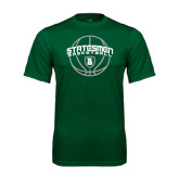 Performance Dark Green Tee-Basketball Ball Design