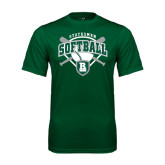 Performance Dark Green Tee-Softball Crossed Bats w/ Plate Design