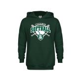 Youth Dark Green Fleece Hoodie-Softball Crossed Bats w/ Plate Design