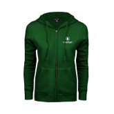 ENZA Ladies Dark Green Fleece Full Zip Hoodie-Richard Bland Statemen Stacked