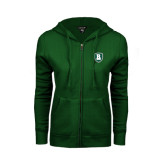 ENZA Ladies Dark Green Fleece Full Zip Hoodie-Shield