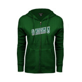 ENZA Ladies Dark Green Fleece Full Zip Hoodie-Statesmen - Richard Bland College