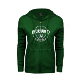 ENZA Ladies Dark Green Fleece Full Zip Hoodie-Basketball Ball Design