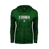 ENZA Ladies Dark Green Fleece Full Zip Hoodie-Basketball Stacked Design